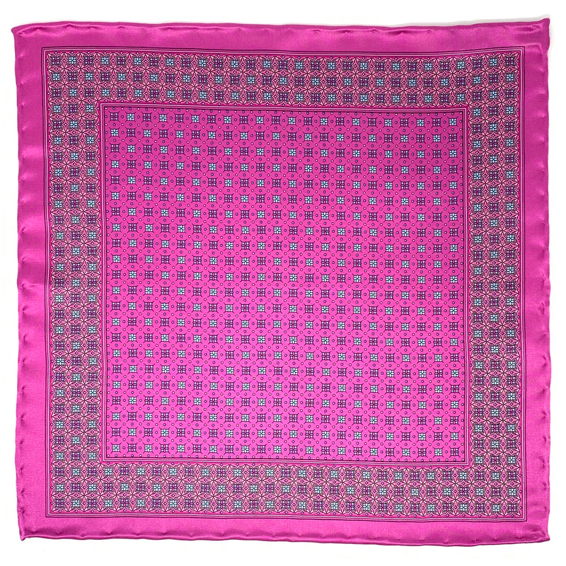 Pocket Square, Pink/Grey - ELI•ROSCOE
