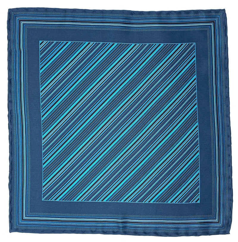 Pocket Square, Navy/Turquoise - ELI•ROSCOE