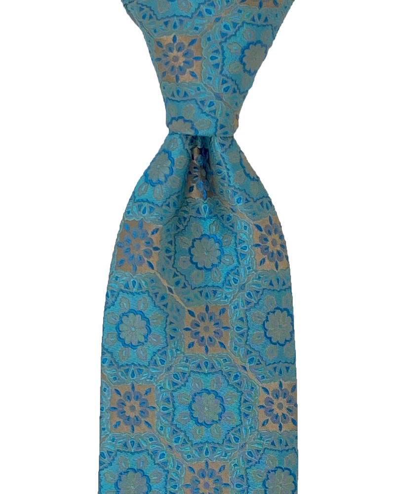 Pocket Square, Blue with Motifs