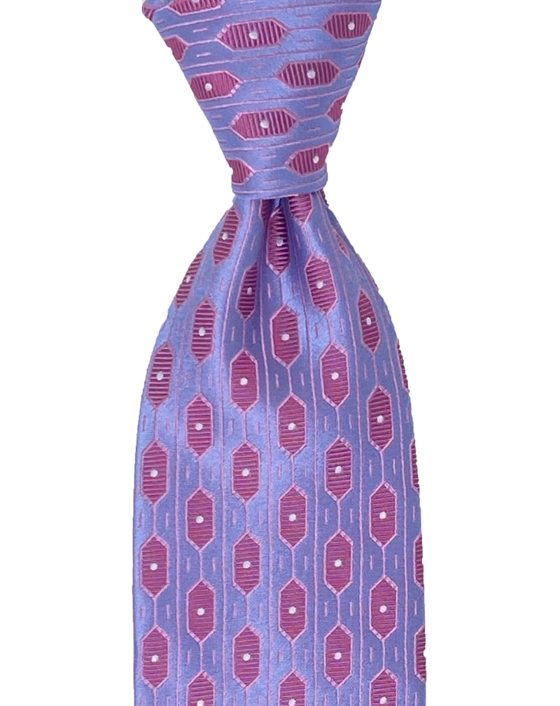 Pocket Square, Burgundy/Red & Yellow Motifs/Blue & Purple Dots Center