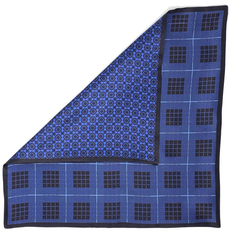 Pocket Square, Blue with Motifs - ELI•ROSCOE