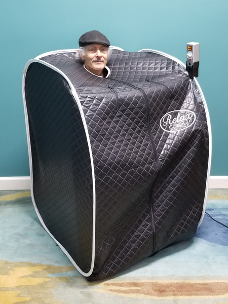 relax far infrared sauna with black tent