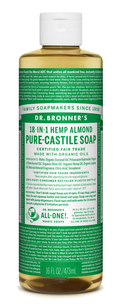 18-In-1 Hemp Almond Pure-Castile Soap (Dr Bronner)