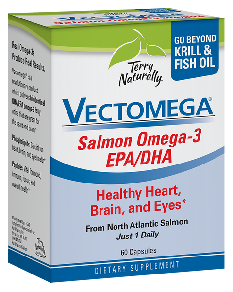 Vectomega 60 Capsules - Salmon Omega 3 EPA/DHA - Healthy Heart, Brain & Eyes - Terry Naturally