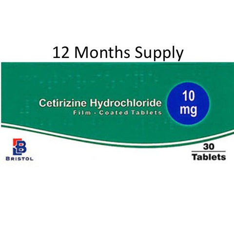 12 MONTHS SUPPLY of Cetirizine 10mg Allergy/Hayfever Relief Tablets with FREE DELIVERY (360 Tablets)