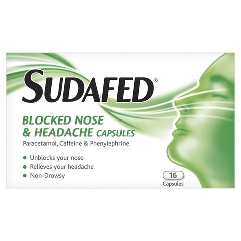 Sudafed Blocked Nose & Headache Capsules (16 Capsules)