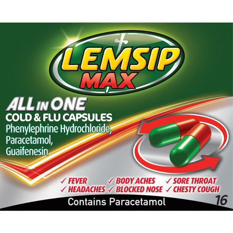 Lemsip Max All In One Cold & Flu Capsules (16 capsules)