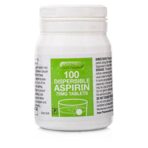 Asprin Dispersible Tablets Low Dose 75mg (100 Tablets)