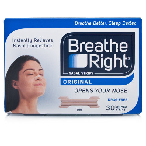 Breathe Right Original Nasal Strips Sm/Md (30 Small/Med Tan coloured Strips)