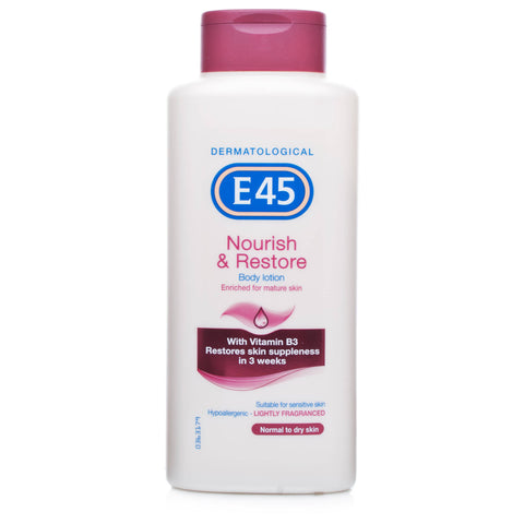 E45 Nourish & Restore Lightly Fragranced Body Lotion 250ml)