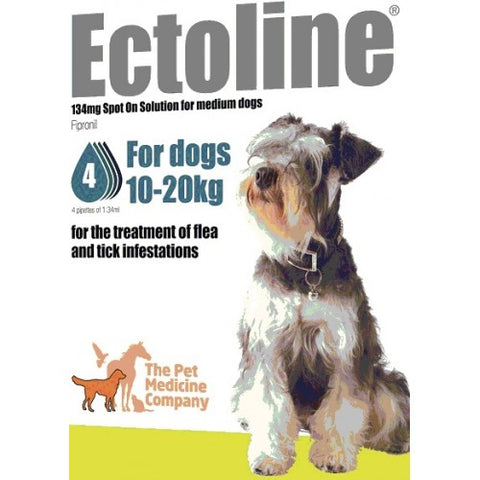 Ectoline Spot On for MEDIUM DOGS 10-20kg (4 Pipettes)