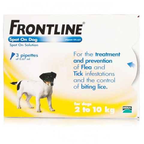 FRONTLINE Spot On for SMALL DOGS: 2-10Kg (3 Pipettes)