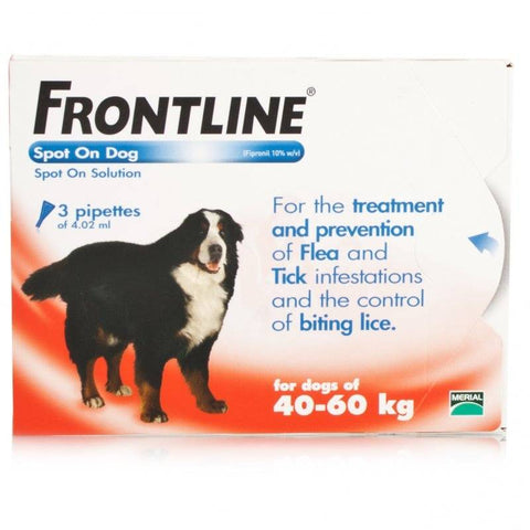 FRONTLINE Spot On for XL DOGS: 40-60Kg (3 Pipettes)