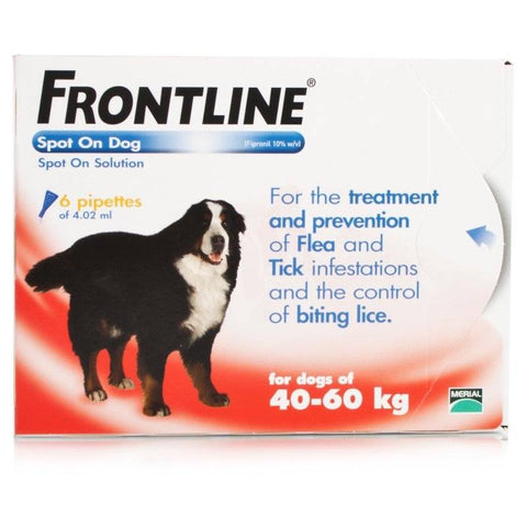FRONTLINE Spot On for XL DOGS: 40-60Kg (6 Pipettes)