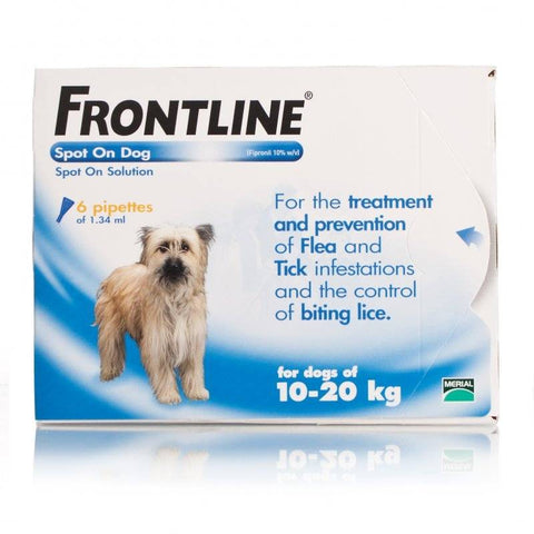 FRONTLINE Spot On for MEDIUM DOGS: 10-20Kg (6 Pipettes)