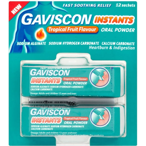 Gaviscon Instants Tropical Fruit Flavoured Granules (12 Sachets)