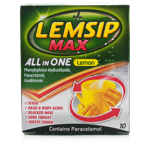 Lemsip Max All In One Lemon Flavoured Sachets (10 sachets)