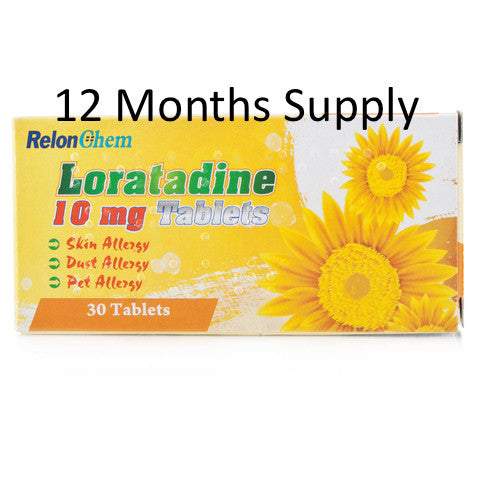 12 MONTHS SUPPLY of Loratadine Non Drowsy Hay-Fever/Allergy Relief Tablets 10mg (360 Tablets) - FREE DELIVERY