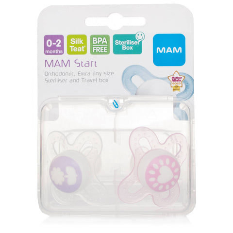 Mam Start 0-2 Month Soother (Pack of TWO soothers - colours may vary)