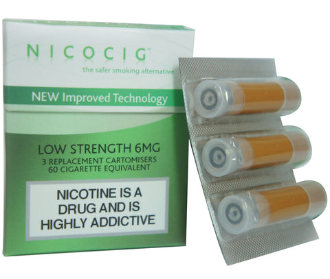 Nicocig Cartridges Tobacco Flavour LOW Nicotine Strength 6mg (3 Cartridges)