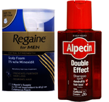 Regaine For Men Extra Strength Scalp Foam (3 x 73ml) + Alpecin Double Effect Shampoo (200ml Bottle)