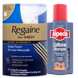 Regaine For Men Extra Strength Scalp Foam (3 x 73ml) + Alpecin C1 Caffeine Hair Loss Shampoo (250ml Bottle)