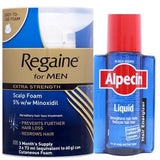 Regaine For Men Extra Strength Scalp Foam (3 x 73ml) + Alpecin Liquid - For use AFTER shampooing (200ml Bottle)