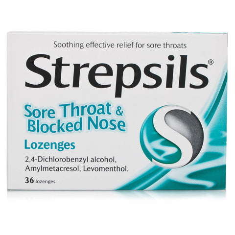 Strepsils Sore Throat and Blocked Nose Lozenges (36 Lozenges)