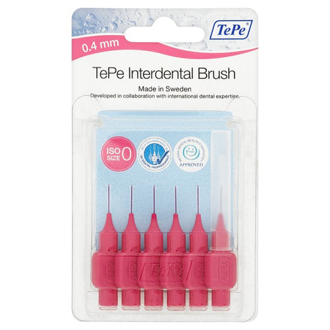 TePe Interdental Brushes PINK (6 x 0.4mm Brushes)
