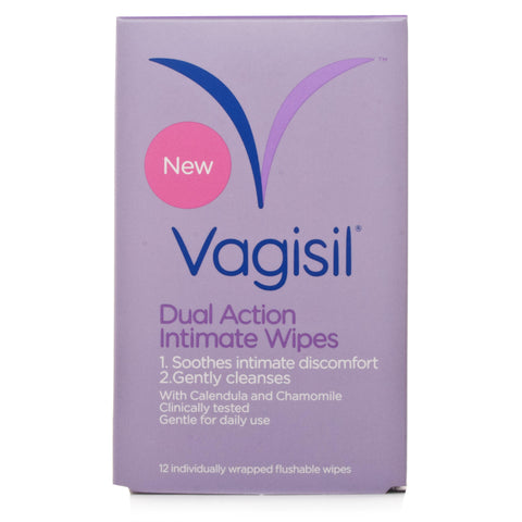 Vagisil Dual Action Intimate Wipes (12 Individually wrapped flushable wipes)
