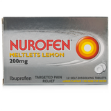 Nurofen Meltlets Lemon Flavour 200mg (12 Meltlets)