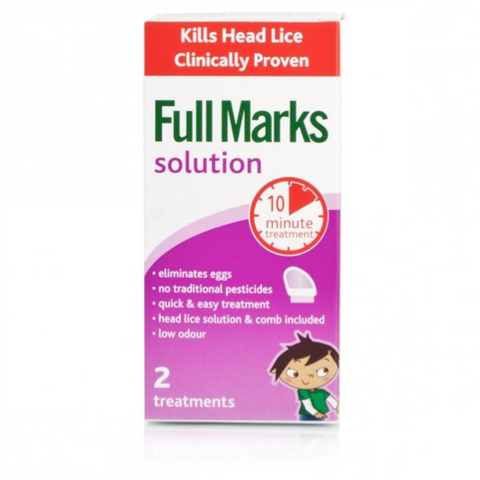 Full Marks Head Lice Solution (2 Treatments: 100ml Bottle + Comb)
