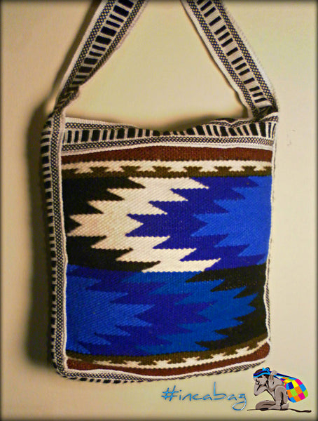 Vintage Handwoven Anka Blue Travel Wool Messenger Bag from Otavalo Ecuador