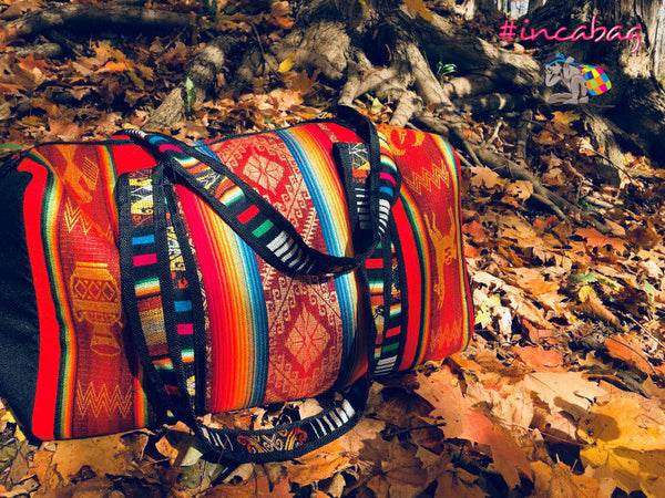 HANDMADE RED ROJO MASHU TRAVEL DUFFEL BAG