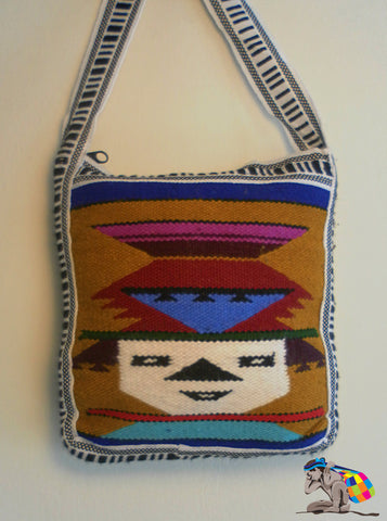 Vintage Handwoven Inti Travel Wool Bag From Ecuador