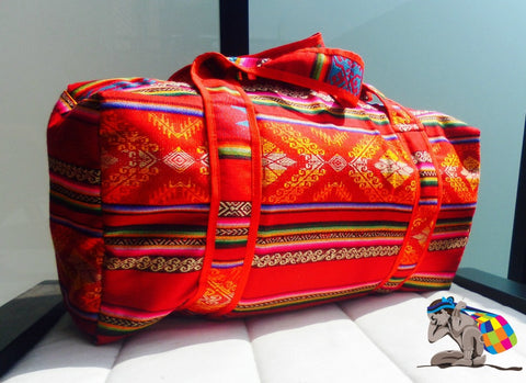 RED PUKA PASSION HANDMADE DUFFEL INCA BAG