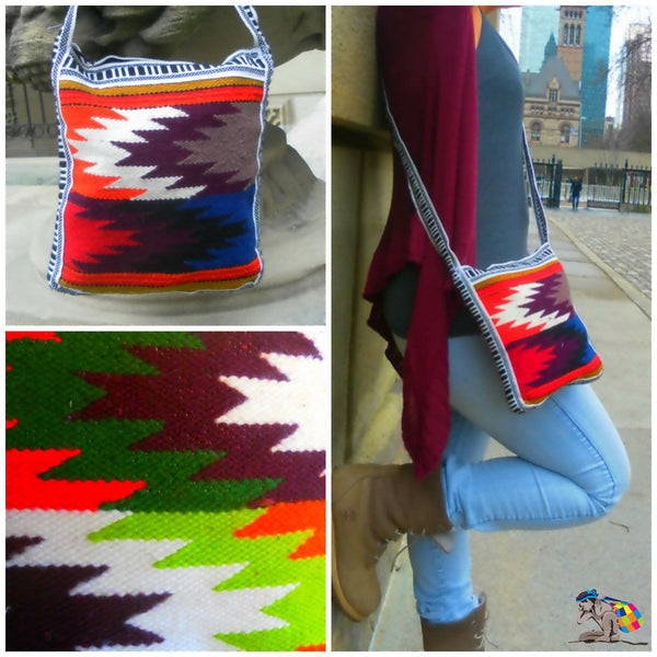Handmade Zizag spider travel shoulder messenger bag