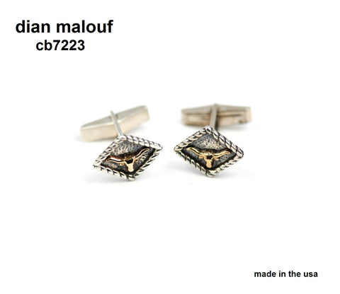 "sterling silver and 14k gold longhorn cufflinks (style CB7223) (approx. 1/2"" x 1/2"")"