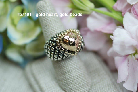 rb7191 - solid gold heart and beads (ring)