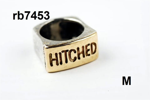 "Mens sterling silver/ 14k gold ""HITCHED"" ring (rb7453)"
