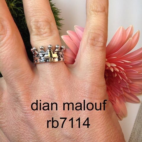 "rb7114 - sterling silver ""crown ring"" w/ 14k gold cross"
