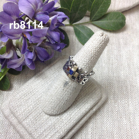 Crown ring with gold cross and lapis stone - RB8114