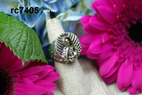 rc7405 - small round Virgin de Guadalupe ring with Gold Veil (passion sides)