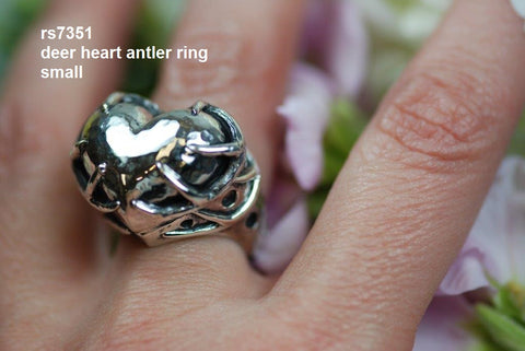 "rs7351 small ""deer heart"" ring - our most popular!"