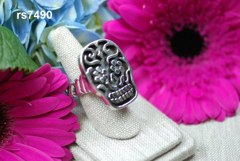 rs7490 - large sugar skull ring solid sterling silver