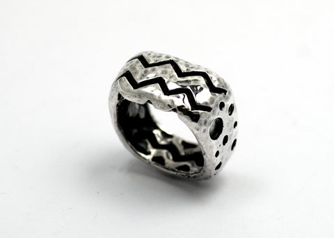 Men's Sterling Silver Crater Zag Ring