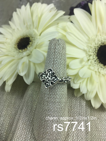 sterling silver ring w/ cross charm
