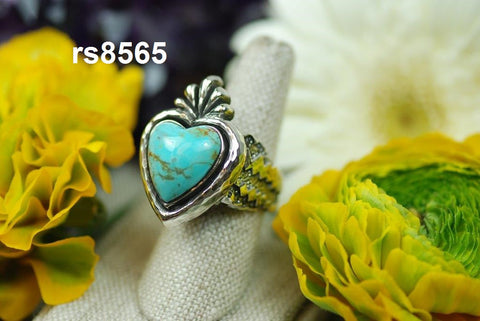 sacred heart ring with fan top