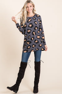 Animal Print Long Sleeve Tunic