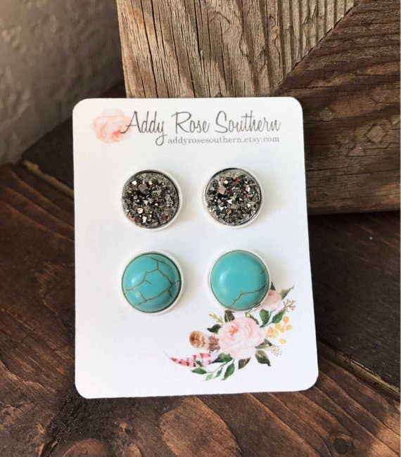 12mm Silver and Turquoise Druzy Stud Set